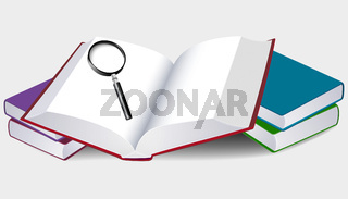 Illustration of an open book with magnifier