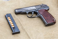Soviet Makarov army handgun with ammunition