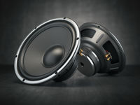 Sound speakers. Multimedia acoustic sound loudspeakers on black rough background