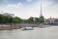 ship Bateaux Parisiens on river Seine