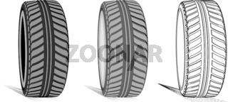 Car tire with tire marks on a white background. Vector