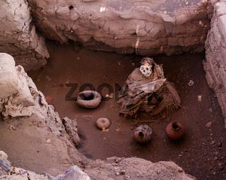 Ancient preinca nazca civilisation cemetery of Chauchilla, Nazca, Peru