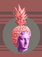 Modern conceptual art poster with ancient statue of bust and pineapple. Collage of contemporary art.