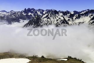 Sonne, Wolken, Schnee, Allgäuer Alpen