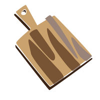 chopping board for bread, food illustration in vintage style