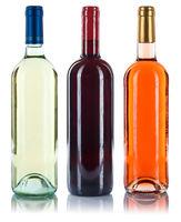 Wein Flaschen Weinflaschen Sammlung Weine Rotwein Weißwein Rose freigestellt