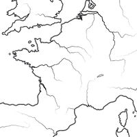 Map of The FRENCH Lands: France, Provence, Normandie, Occitanie, Aquitaine. Geographic chart.