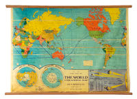 Vintage education color world map