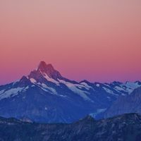 Mount Schreckhorn at sunrise. View from Mount Niederhorn. Mountain in the Bernese Oberland, Switzerland.