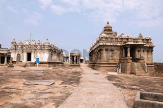 Front view of Shasana Basadi on the left and Chavundaraya Basadi, Chandragiri hill, Sravanabelgola, Karnataka