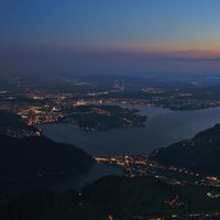 Lights of Lucerne, Switzerland. View from mount Stanserhorn.