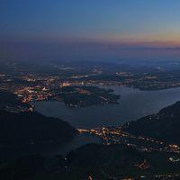Lights of Lucerne, Switzerland. View from mount Stanserhorn.