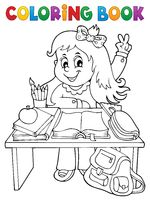 Coloring book girl behind school desk