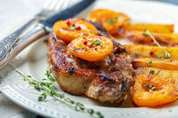 Entrecote of pork with apricots and thyme.