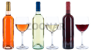Wein Weinflaschen Weinglas Flaschen Glas Weine Rotwein Weißwein Rosewein Rose freigestellt Freisteller