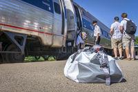 passengers boarding Amtrak train