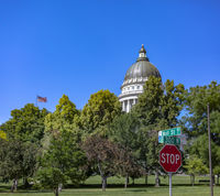 Utah State Capital building shown with foliage