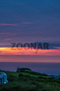 Camping site at dusk in Cornwall