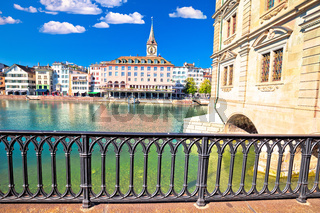 Zurich Limmat river waterfront and landmarks view