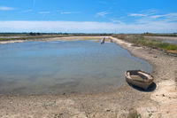 Ile de Ré salt lake with boat