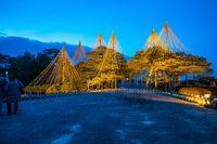 Kenrokuen Garden at night in Kanazawa, Ishikawa Prefecture, Japan