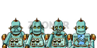 robot with telephone, Internet addiction concept. Isolate on white background