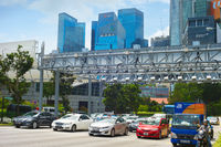 Car traffic. Downtown of Singapore