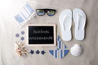 Sunny Blackboard On Sand, Schoenes Wochenende Means Happy Weekend