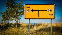 Street Sign Sun versus Rain