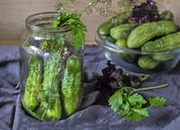 Cucumbers, prepared for canning and necessary spices.