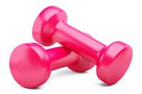 pink dumbbells isolated on white background. 3d illustration