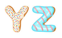 Donut icing upper latters - Y, Z Font of donuts. Bakery sweet alphabet. Donut alphabet latters A b C isolated on white background