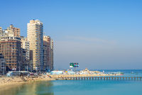 Mediterranean coast at Alexandria city with very tall buildings by the seaside, Egypt
