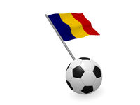 Soccer ball with the flag of Romania