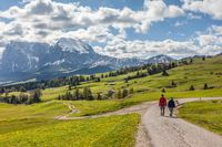 Hikers on the Alpe di Siusi