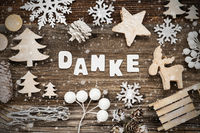 Christmas Decoration, Danke Means Thank You, Tree And Sled, Snowflakes