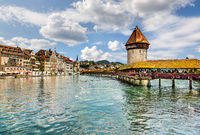 Chapel Bridge in the center of Lucerne.