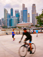 People running and cycling Singapore