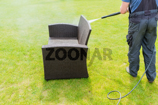 power washing garden furniture - made of rattan