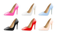 Set of elegant women shoes, colorful high heels, fashion trendy footwear, isolated on white background vector illustration.