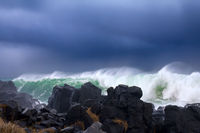 Wall of water like tsunami - turbulent waves of Pacific ocean