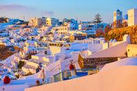 Thira town in Santorini Island at sundown
