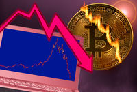 Bitcoin coin cracked in market crash with laptop graph