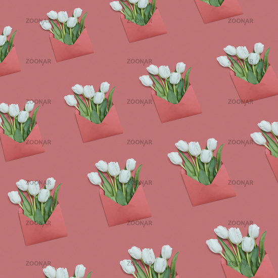 Flowers greeting envelopes pattern on a pastel background.