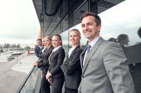 Business people team at the balcony