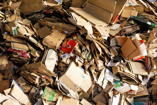 Piles of cardboard boxes stored for recycling