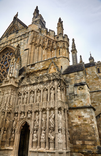 The part of the West facade of Exeter Cathedral with Front Image Screen. Exeter. Devon. England