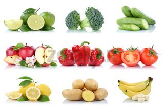 Früchte Obst und Gemüse Sammlung Apfel Tomaten Zitrone Bananen Farben frische Freisteller freigestellt isoliert