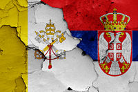 flags of Vatican and Serbia