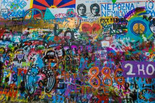 Graffiti on the wall of John Lennon in Prague - Czech Republic